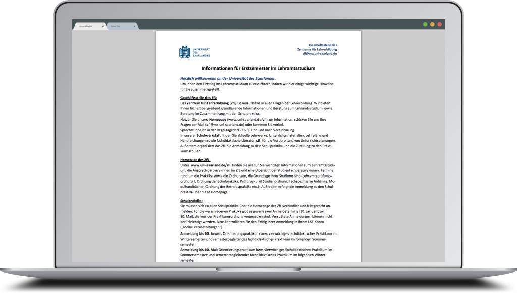 UdS - Screen - Informationen für Erstsemester im Lehramtsstudium